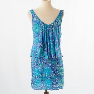 Plenty By Tracy Rees Blue Floral Layered Dress S